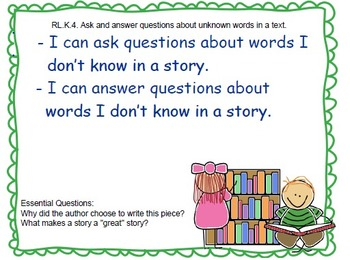 """Common Core """"I Can"""" statements & Essential Questions for Kindergarten ELA"""
