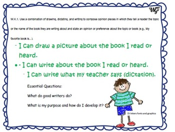 "Common Core ""I Can"" statements & Essential Questions for Kindergarten ELA"