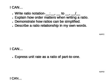 """Common Core """"I Can"""" Statements for Math Grade 6"""