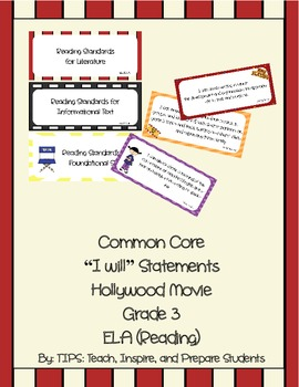 Common Core I WILL Statements ELA Hollywood Movie Grade 3
