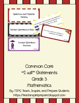 Common Core I WILL Statements Math Hollywood Movie Grade 3