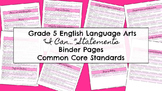 "Common Core ""I can..."" Statements ELA Grade 5"