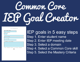 Common Core IEP Goal Creator - Grade 1