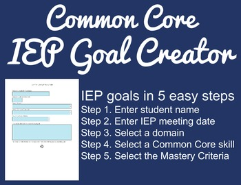 Common Core IEP Goal Creator - Grade 5