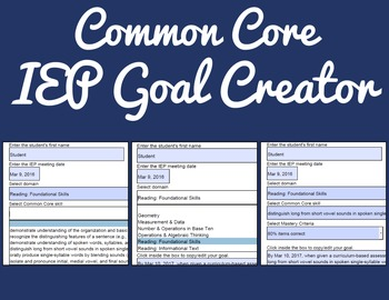 Common Core IEP Goal Creator - Grade 6