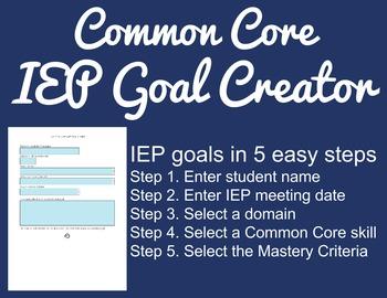 Common Core IEP Goal Creator - Grade 7