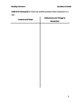 Common Core Ideas & Reflections Lesson Guide: 1st Grade English Language Arts