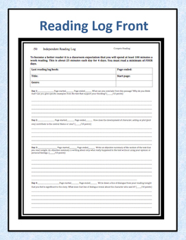 Common Core Independent Reading Log