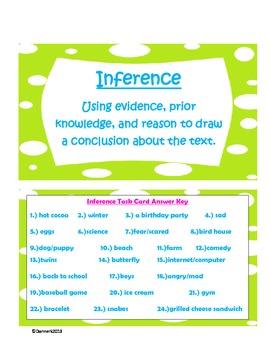 Inference Task Card Set with graphic organizer