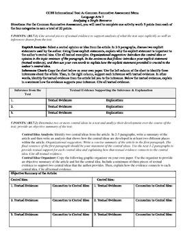 Common Core Informational Materials Assessment RL.7.1, 7.2, 7.3, & 7.5