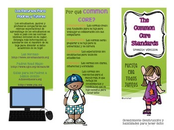 Common Core Informational Pamphlet for Parents: SPANISH VERSION {Freebie}