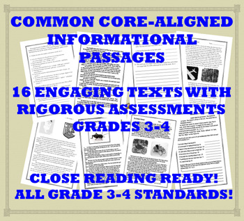 Common Core-Aligned Informational Passages and Assessment Collection: Grade 3-4