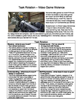 Common Core Informational Text Task Rotation #2 (Video Game Violence)