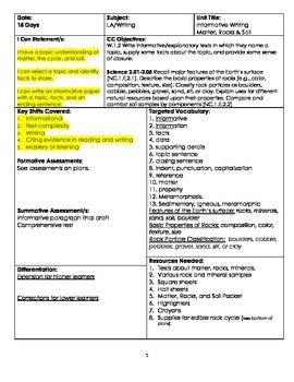 W.1.5 Common Core Informational Unit Plan With Rocks, Matter, and Soil
