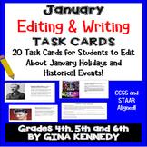 "January Themed ""Daily Editing"" Writing Task Cards, Fun History Integration!"