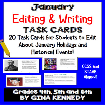 "January Themed ""Daily Editing"" Writing Task Cards, Fun History Integration!"