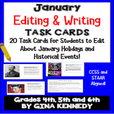January Editing Daily Writing Task Cards, Fun History Integration!