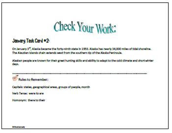 January Editing Daily Writing Task Cards, Fun History Integration!