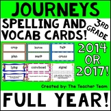 Journeys 3rd Grade Vocabulary and Spelling Word Cards CC 2014 or 2017