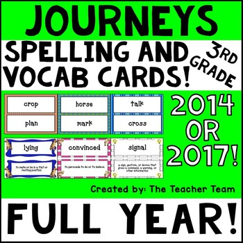 Journeys 3rd Grade Vocabulary and Spelling Word Cards 2014