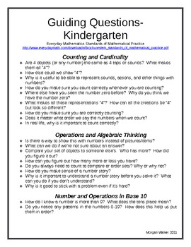 Common Core K-4 Mathematics Guiding Questions