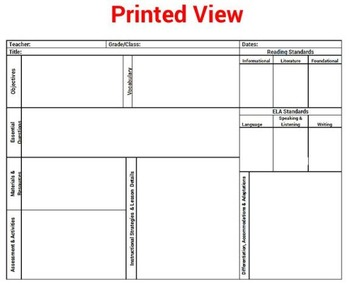 Common Core K - 5 ELA Reading Lesson Plan Template Drop Down Standards