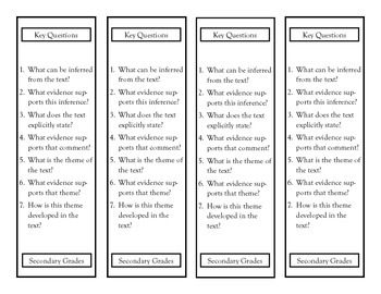 Common Core Key Questions for Reading Literature Bookmarks
