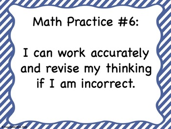 Mathematical Practices to Post in the Classroom!  Common Core Kid Friendly