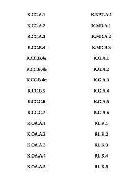 Common Core Kinder ELA/Math Tabs