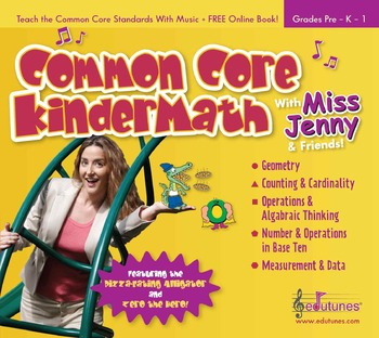 """Common Core KinderMath"" Kindergarten Math Music CD / 30 Songs, 57 Page Book"
