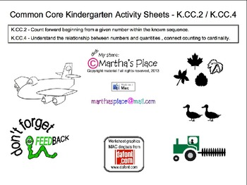 Common Core Kindergarten Activity Sheets K.CC.2 / K.CC.4