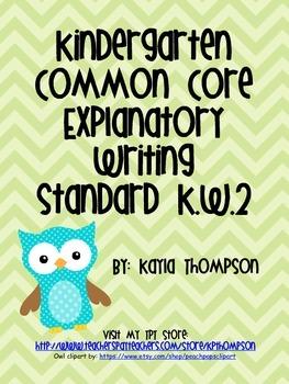 Common Core Kindergarten Explanatory Writing Standard