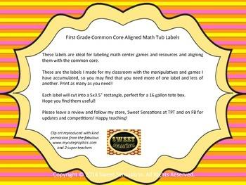 Common Core First Grade Math Tub Labels (color)