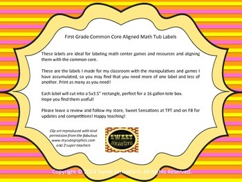 Common Core First Grade Math Tub Labels (color)