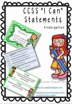 "Common Core Kindergarten ""I Can"" Statements and Checklists Language Arts Bundle"
