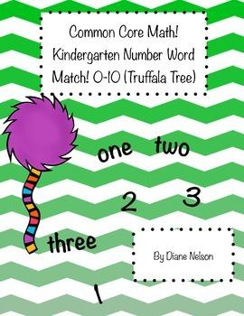Kindergarten Math! 0-10 number-word Match! Truffala Tree Theme