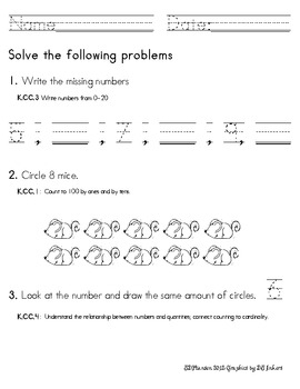 Common Core Kindergarten Math Assessment