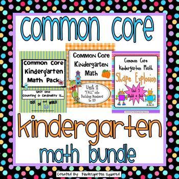 Common Core Kindergarten Math Bundle: Units 1-3
