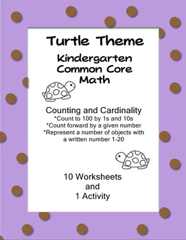 Common Core Kindergarten Math Counting and Cardinality Turtle Theme