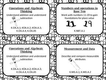 Common Core Kindergarten Math Tub Labels (black and white)