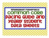 Common Core Kindergarten Mathematics Yearly Data Sheets