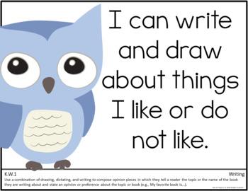 Common Core Kindergarten Posters - Editable- (Owl Edition)