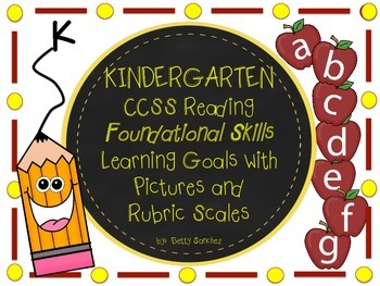 Common Core Kindergarten RF Learning Goals with Picture Graphics and Rubrics