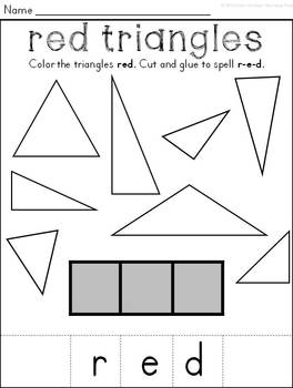 Flat and Solid Shapes & Color Words Cut & Paste Worksheets