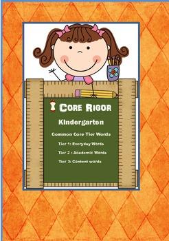 Kindergarten Tier 1, 2, and 3 Vocabulary Words