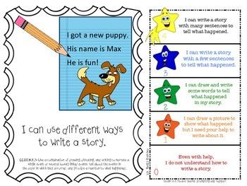 Common Core Kindergarten WRITING Goals with Graphics & Rubrics