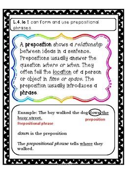 Common Core L.4.1e Prepositional phrases standard based lesson