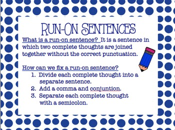 Common Core: L.4.1f- Run-On Sentences Powerpoint | TpT