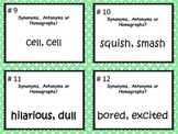Common Core L.5.5.c Synonyms, Antonyms, Homographs Task Ca