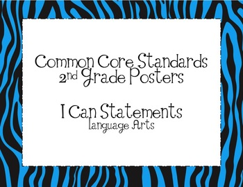 Second Grade Common Core ELA Standards Posters-Zebra Print